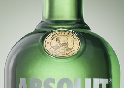 product detail of a label on a bottle of vodka